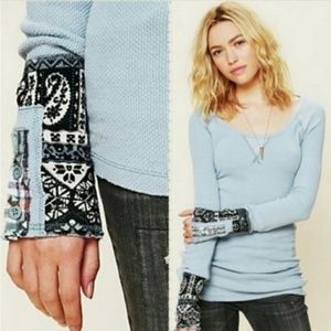 Free People Light Blue Hyperactive Cuff Thermal M